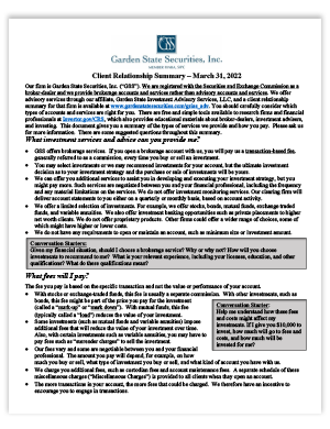 Garden State Securities Form CRS
